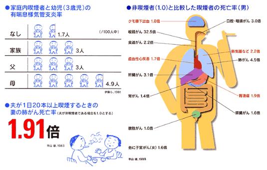 非喫煙者と比較した喫煙者の死亡率
